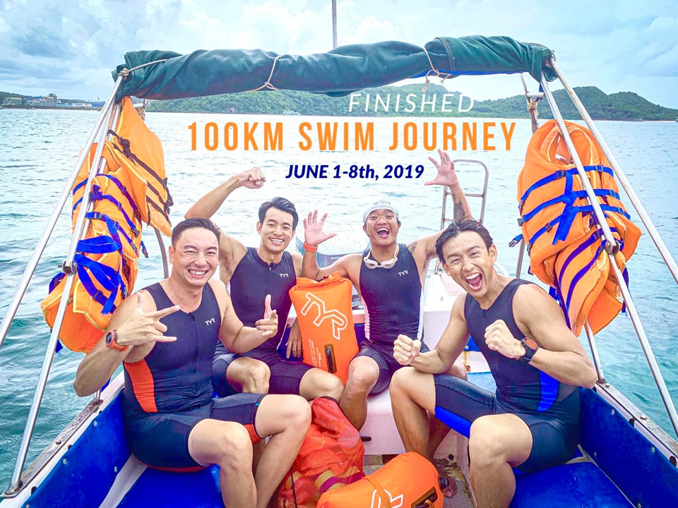 MC Quang Bảo và những người bạn bơi 100km